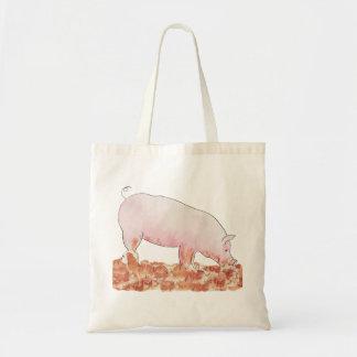 Porc drôle dans le sac fourre-tout à art de