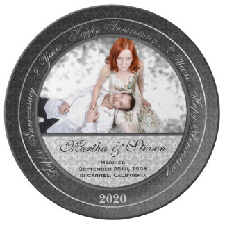 Porcelain 2nd Wedding Anniversary Photo Plate