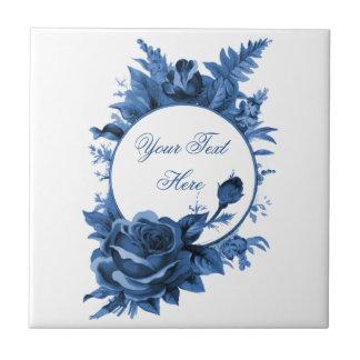 Porcelain Blue Flora Frame Ceramic Tile
