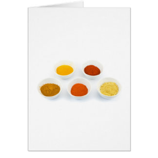 Porcelain bowls with several seasoning spices card