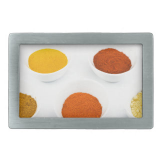 Porcelain bowls with several seasoning spices rectangular belt buckle