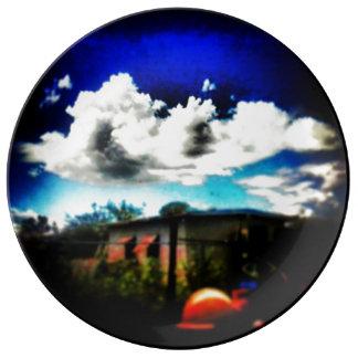 Porcelain cloudy sky plate porcelain plates
