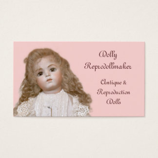 Porcelain doll with choice of background color business card