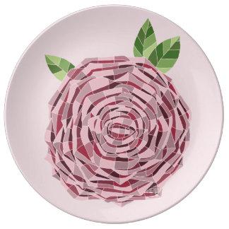 "Porcelain plate 10,75"" Rosa Vitral"