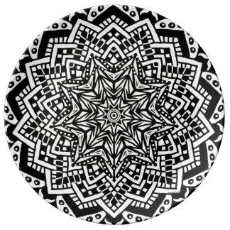 Porcelain Plate Black and White Design
