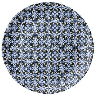 Porcelain Plate Blue Multicolor Pattern Design