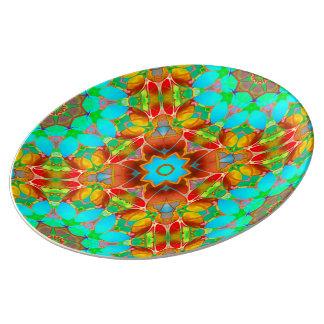 Porcelain Plate Floral Fractal Art G410