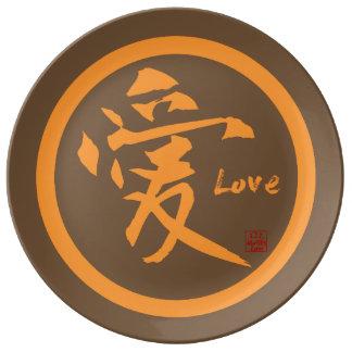 Porcelain plate | orange kamon with love kanji