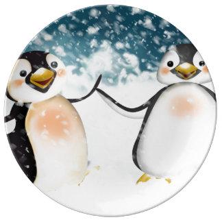 Porcelain plate Pingu Dance