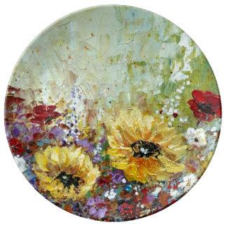 Porcelain Plate Sunflowers