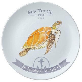 Porcelain plate Turtle-Navy | Sea Turtle