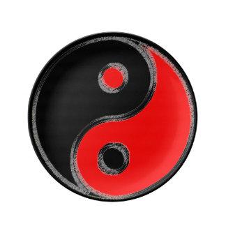 Porcelain plate Yin Red Yang Black/