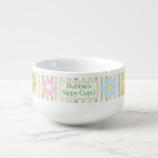 "Porcelain Soup Mug ""Flowers & Stripes"""