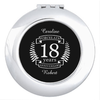 Porcelain traditional wedding anniversary 18 years compact mirror