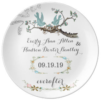Porcelain Wedding Date Anniversary Love Bird Plate