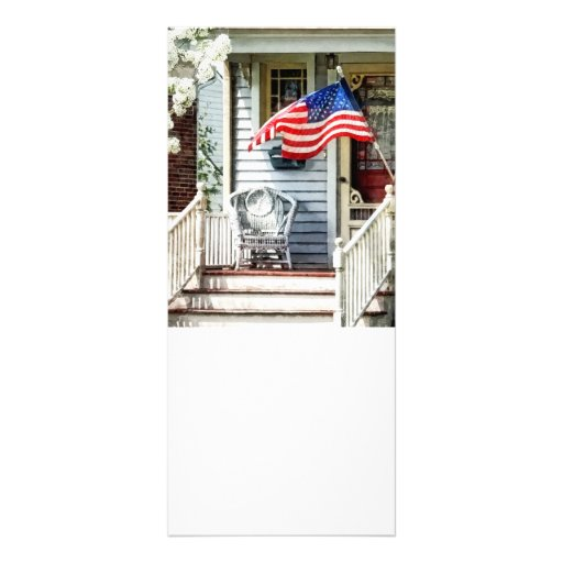 Porch With Flag And Wicker Chair Customized Rack Card