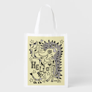 Porcupine and sakana A1 (one side) Reusable Grocery Bag