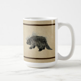 Porcupine On Old Paper Coffee Mug
