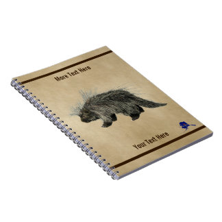 Porcupine On Old Paper Notebooks