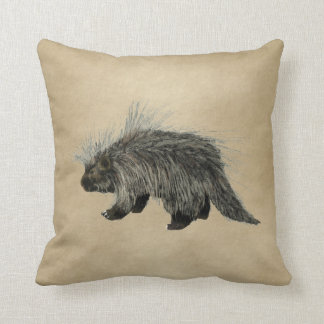 Porcupine On Old Paper Throw Pillow