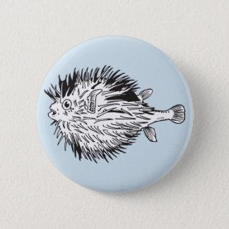 porcupinefish  aka blowfish 2 inch round button