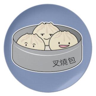 Pork Bun dim sum Chinese breakfast steamed bbq bun Plate