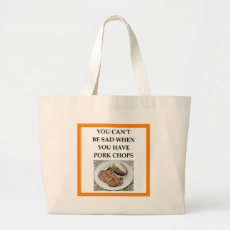 pork chops large tote bag