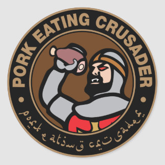 Pork Eating Crusader Round Sticker