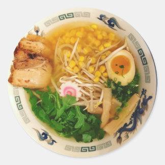 Pork Ramen Noodle Soup Classic Round Sticker
