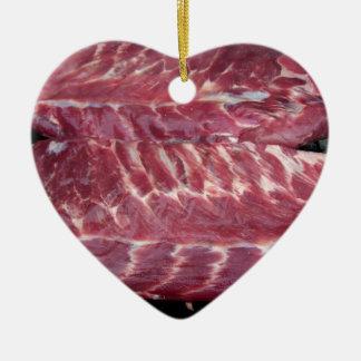 Pork Ribs Ceramic Heart Ornament
