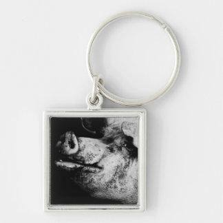 porker portrait Silver-Colored square keychain