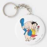 Porky Pig and Petunia Basic Round Button Keychain