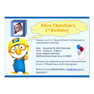 "Pororo Birthday 5"" X 7"" Invitation Card"