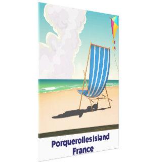 Porquerolles Island France travel poster Canvas Print
