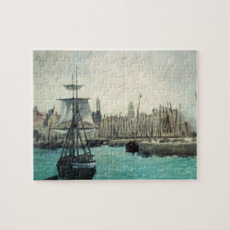 Port at Calais by Manet, Vintage Impressionism Art Jigsaw Puzzle