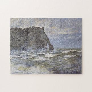 Port d'Aval, Rough Sea Monet Fine Art Jigsaw Puzzle