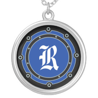 Port Hole Initial Round Pendant Necklace