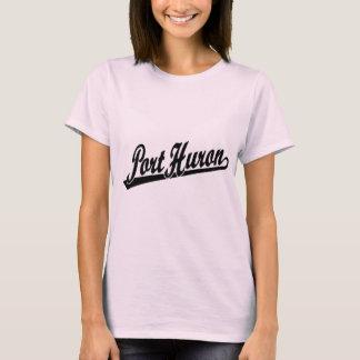 Port Huron script logo in black T-Shirt