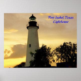 Port Isabel lighthouse at sunset poster