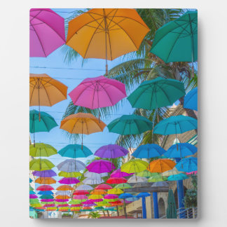 port louis le caudan waterfront umbrellas cap plaque