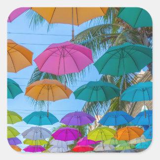 port louis le caudan waterfront umbrellas cap square sticker