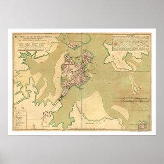 Port of Boston Massachusetts Map 1764 Poster