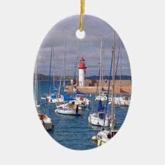 Port of Erquy in France Ceramic Ornament