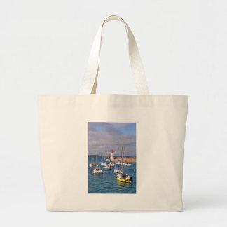 Port of Erquy in France Large Tote Bag