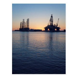 Port of Galveston Oil Rigs Postcard