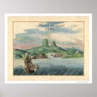 Port of Havana Cuba View Map 1639 Poster