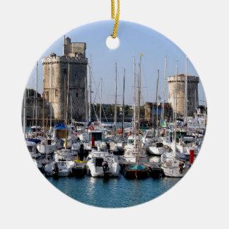 Port of La Rochelle in France Ceramic Ornament