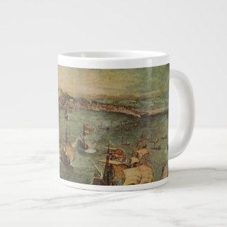 Port of Naples by Pieter Bruegel the Elder Large Coffee Mug