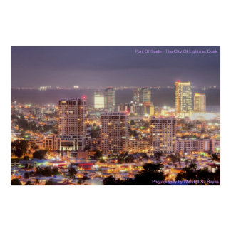 Port of Spain City of lights at Dusk Poster