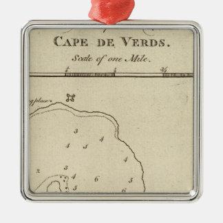Port Praya, Cape de Verds Silver-Colored Square Ornament